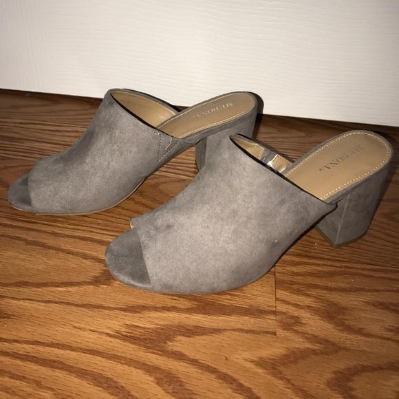 11 merona shoes merona grey suede slip on mules 6 5