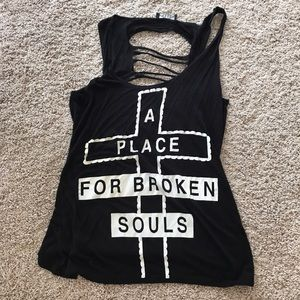 Tops - Flowy graphic ripped black tank top with cross