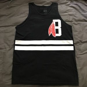 Black Scale Other - Black Scale Tank Top Black White Red Men's Large