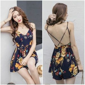 Pants - Sexy Backless Floral Romper
