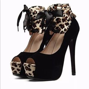 Shoes - Black and leopard peep toed heels