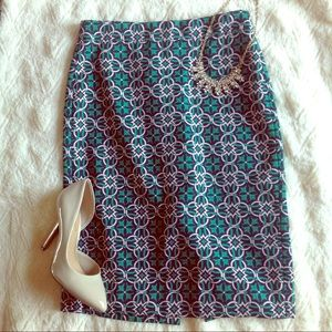 Blue green white printed pencil skirt