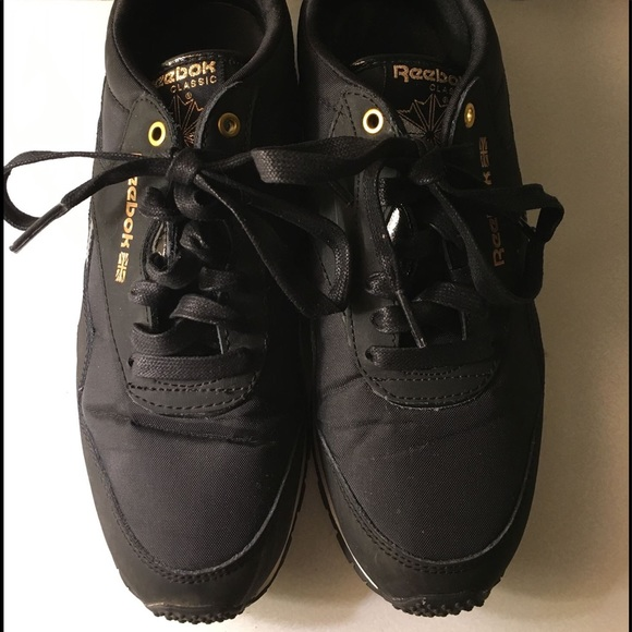 64 reebok shoes classic reebok s black with gold