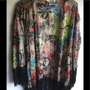 Jackets & Blazers - Fringe and Floral Kimoni