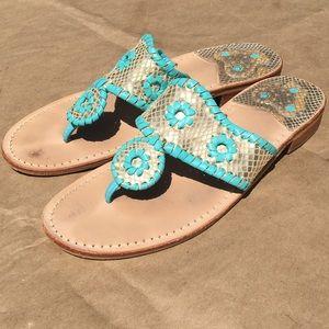 Jack Rogers Shoes - Jack Rogers sandals. Teal/gold. Size 8.
