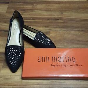 Ann Marino Shoes - Studded Black Pointed Flats by Ann Marino (NWT)