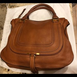 Chloe Handbags - Chloe Large Marcie Leather Satchel Tan