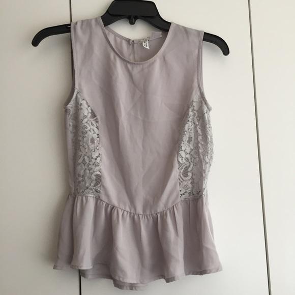 669ccd5e5aca46 H&M Tops   Hm Grey Lace Peplum Chiffon Top Size 2   Poshmark