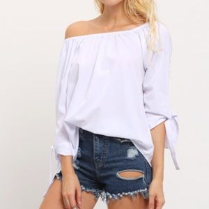 Off The Shoulder Tie Cuff Blouse. Price firm.
