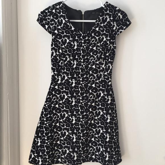 Zara Dresses Cap Sleeve Fit Flare Leopard Print Mini