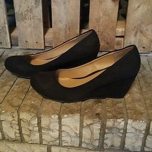 Chinese Laundry Shoes - Black faux seude wedges