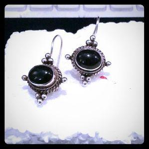 Vintage Mexican sterling obsidian earrings