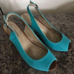 Call It Spring Shoes - Blue green peep toe shoes