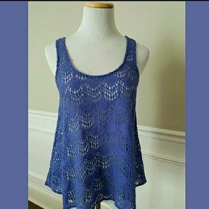 Lush Tops - Periwinkle Crochet Swing Tank SZ S