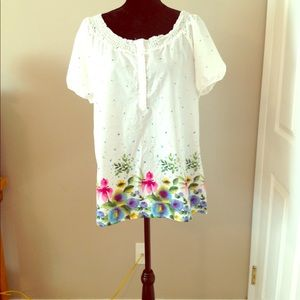 Art And Soul Tops - 100% Cotton Floral, lite, cool, Peasant top