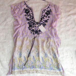 Free People Purple Embroidered Tunic