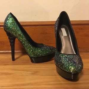 Rachel Shoes - Rachel Green Glitter Wedge Toe Heel