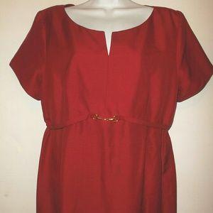100 % Silk Red Maternity Dress Womens Large