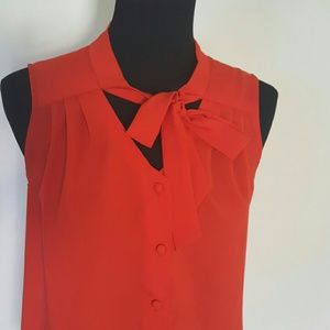 Tops - Bold Orange Button Down Blouse Size Small