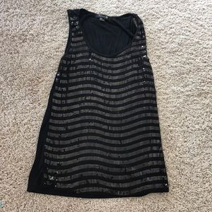 Sequin black stripe tank