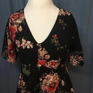 Hello MIZ Tops - NEVER WORN Black floral top