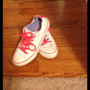 Converse Shoes - Girls white converse with neon pink laces size 2 1d51d2aad