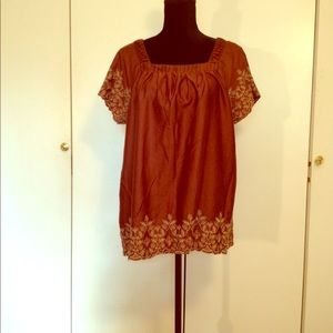 Art And Soul Tops - 100% Cotton Embroidered, Sq neck, lite, cool top