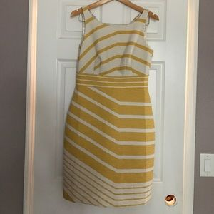 The Limited Yellow and Cream Striped Sheath Dress