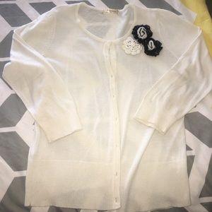 Sweaters - Embellished white cardigan