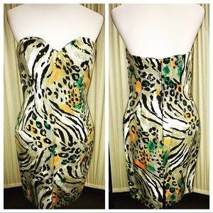 A.J. Bari Dresses & Skirts - A.J. Bari Animal Print Sequin Strapless Mini Dress