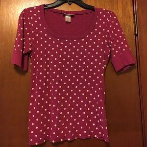 Belle Du Jour Tops - Pinkish polka dot top!