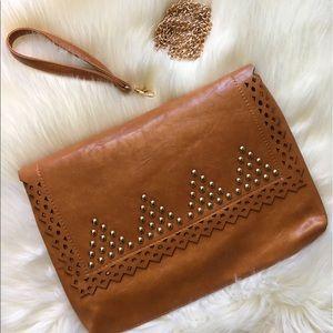 The O Boutique Handbags - 🆕 Tan Brown Leather Studded Boho Clutch Crossbody
