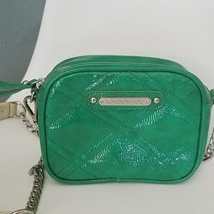 London Fog green patent leather bag