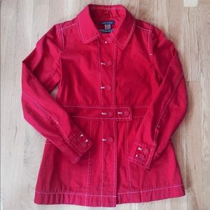 Orla Kiely Jackets & Blazers - Orla Kiely RARE Red Coat Jacket White Stitching