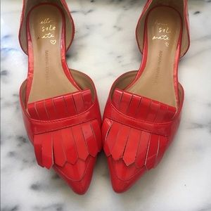 Red Leather flats in excellent condition.