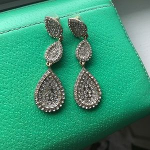 Gold and Diamond Dangling Earrings