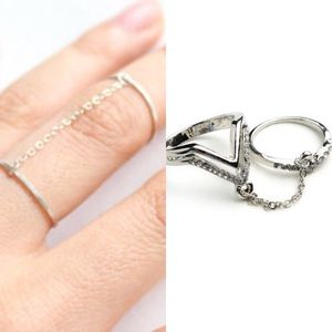 The O Boutique Jewelry - 🆕 Silver & Gold V-Shape Double Chain Midi Ring