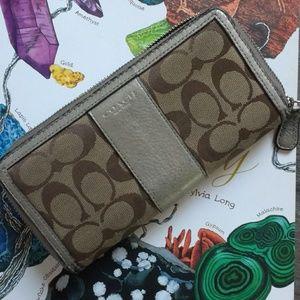 COACH Gold and Canvas Zipper Wallet