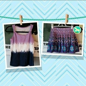 Justice Other - Girls purple and blue tank and skirt set