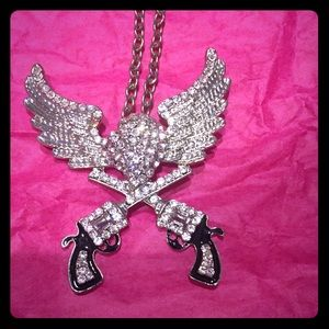 Accessory Collective Jewelry - Silver necklace with Rhinestones wings