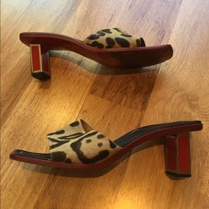 Valentino Garavani Shoes - Valentino Leopard Pony Fur Avant Garde Sandals 9.5