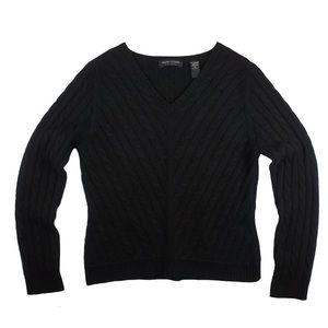 Valerie Stevens Sweaters - VALERIE STEVENS Black 100% Cashmere Cable Sweater