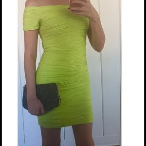 Wet Seal Neon Green/Yellow dress Sz S