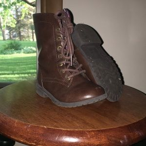 Other - Girls brown lace up and side zip combat boots