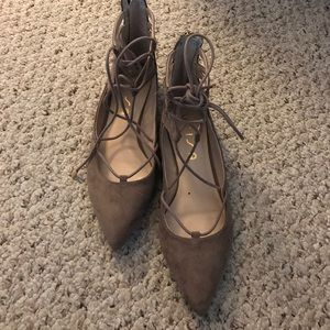 Unisa Shoes - Taupe lace up flats