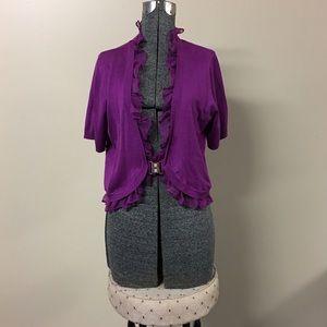 Bright Purple Ruffle Accent Cardigan XL NWOT