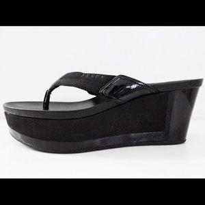 Prada Shoes - Prada Wedge Thong Sandals in Black