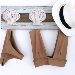 Other - Womens tan/ brown two piece bikini swimwear padded