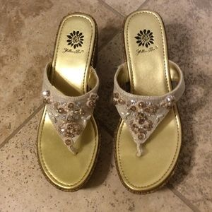 Yellow Box Shoes - Yellow Box Pearl & Crystal Wedges NWOT