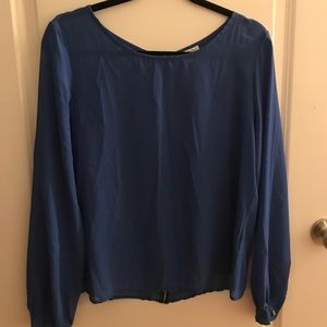 Tops - Striped blue long sleeve blouse